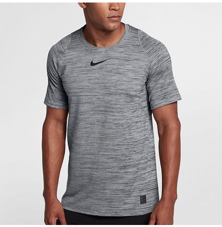 MEN'S NIKE PRO FITTED HEATHERED SHORT SLEEVE