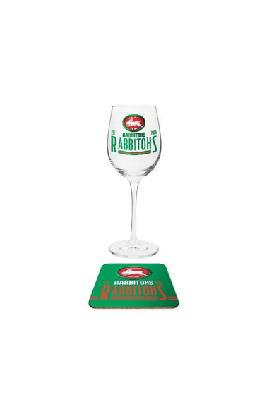 South Sydney Rabbitohs Wine & Coaster Set
