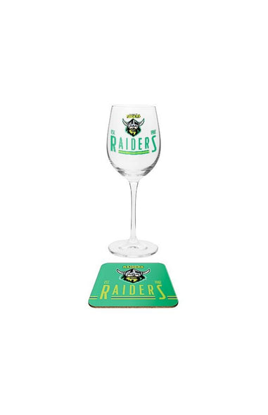 NRL Canberra Raiders Wine & Coaster Set
