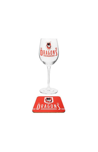 St George Illawarra Dragons Wine & Coaster Set