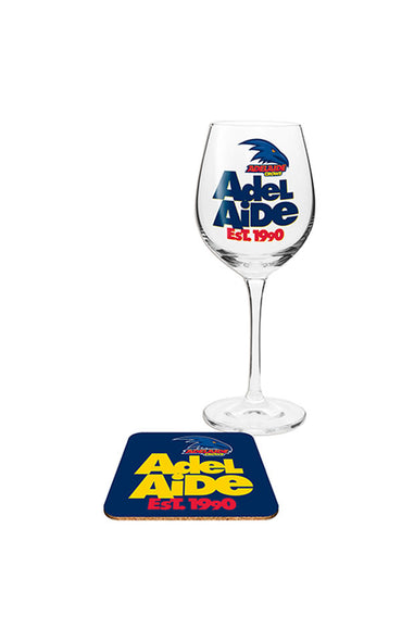 AFL ADELAIDE CROWS WINE & COASTER