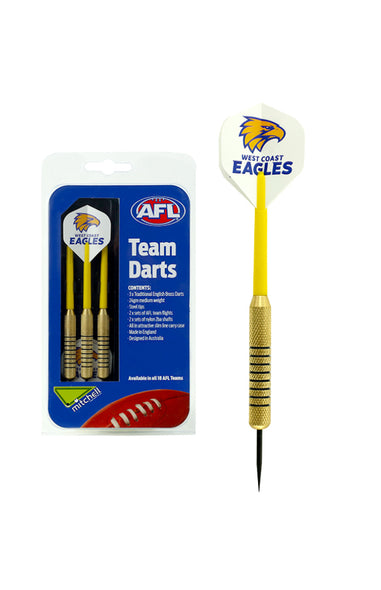 AFL BRASS DARTS WEST COAST EAGLES 3 X DARTS FLIGHTS & SHAFTS IN CASE