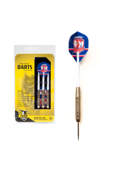 NRL BRASS DARTS SYDNEY ROOSTERS 3 X DARTS FLIGHTS & SHAFTS IN CASE