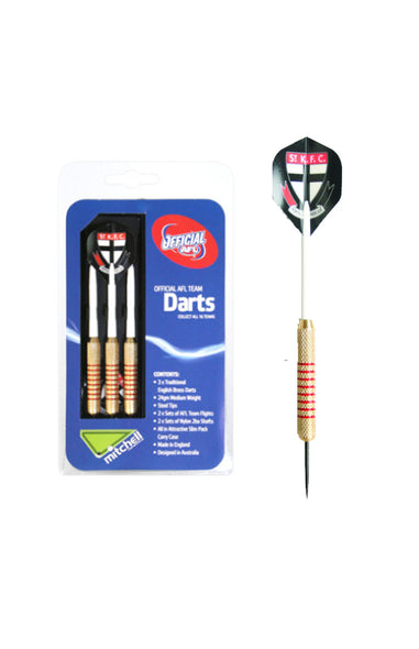 AFL BRASS DARTS SAINT KILDA SAINTS 3 X DARTS FLIGHTS & SHAFTS IN CASE