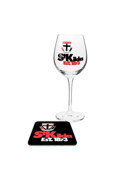 AFL ST KILDA SAINTS WINE & COASTER