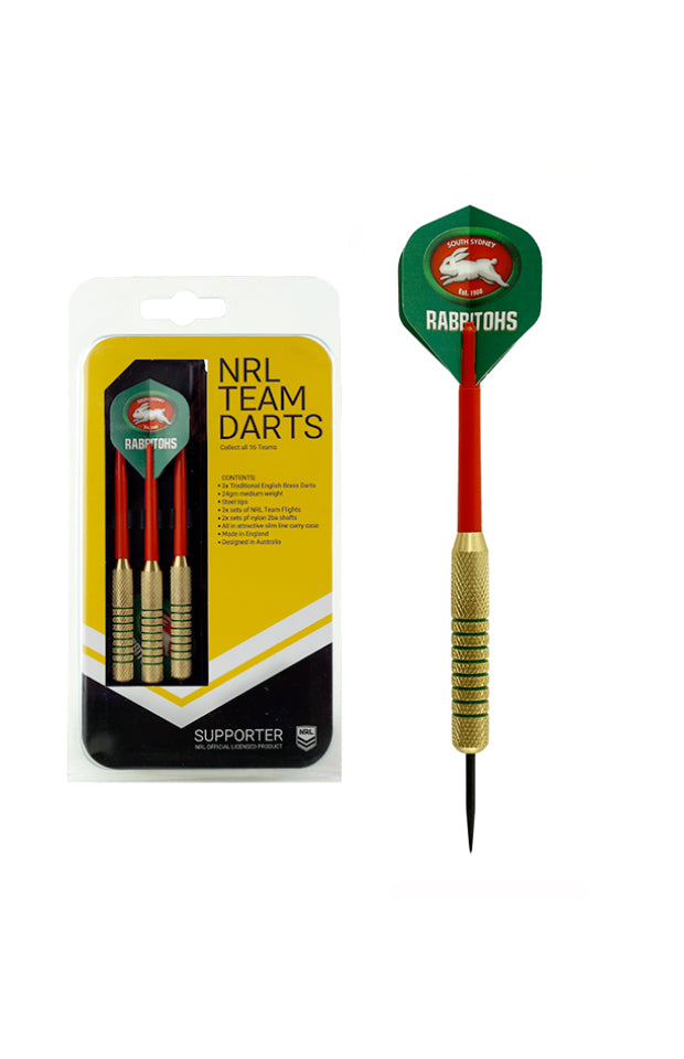 NRL BRASS DARTS SOUTH SYDNEY RABBITOHS 3 X DARTS FLIGHTS & SHAFTS IN CASE
