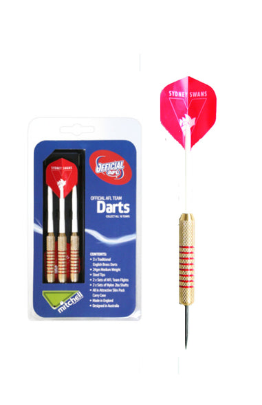 AFL BRASS DARTS SYDNEY SWANS 3 X DARTS FLIGHTS & SHAFTS IN CASE