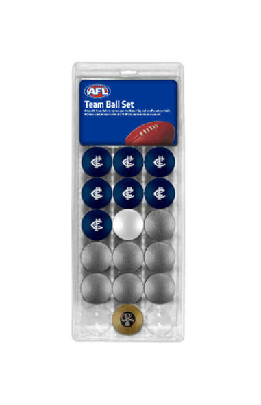 AFL 16 BALL SET CARLTON BLUES V COLOUR SILVER