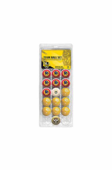 NRL OFFICIAL 16 POOL BALL SET BRISBANE BRONCOS V COLOUR YELLOW