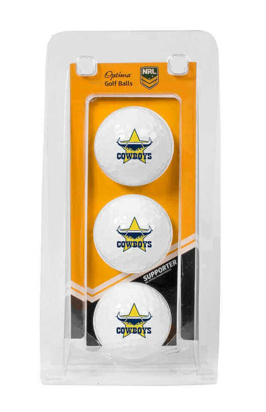 NRL NORTH QUEENSLAND COWBOYS GOLF BALL 3 PACK