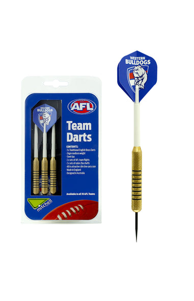 AFL BRASS DARTS WESTERN BULLDOGS 3 X DARTS FLIGHTS & SHAFTS IN CASE