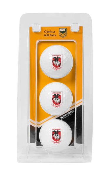 NRL ST GEORGE ILLAWARRA DRAGONS GOLF BALL 3 PACK
