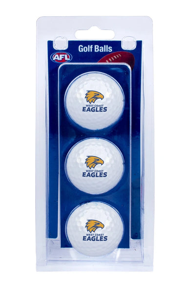 AFL WEST COAST EAGLES GOLF BALL 3 PACK