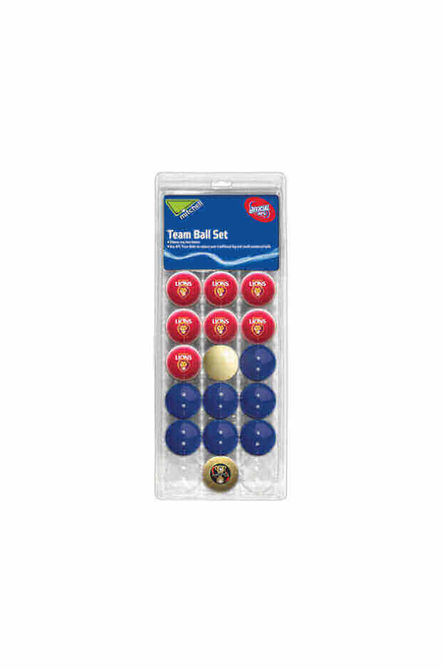 AFL 16 BALL SET BRISBANE LIONS V COLOUR RED
