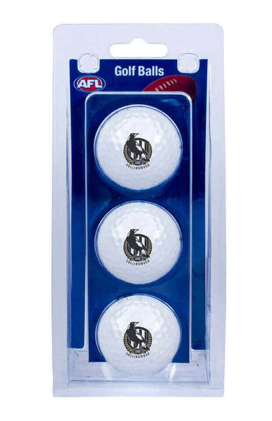 AFL COLLINGWOOD MAGPIES GOLF BALL 3 PACK