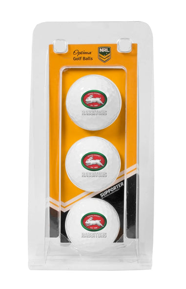 NRL SOUTH SYDNEY RABBITOHS GOLF BALL 3 PACK
