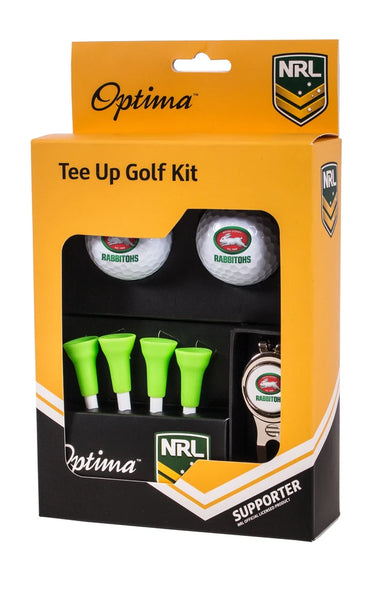 NRL SOUTH SYDNEY RABBITOHS GOLF TEE UP GIFT PACK