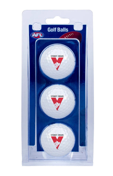 AFL SYDNEY SWANS GOLF BALL 3 PACK