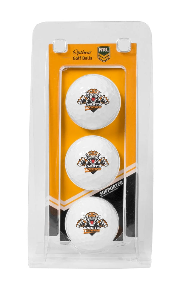 NRL WEST TIGERS GOLF BALL 3 PACK