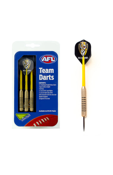 AFL BRASS DARTS RICHMOND TIGERS 3 X DARTS FLIGHTS & SHAFTS IN CASE