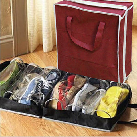 6 Grids Outdoor Travel Shoes Bags Non-woven Fabric Anti Dust Shoe Storage Bag Zipper Organizer Portable Pouch Bag