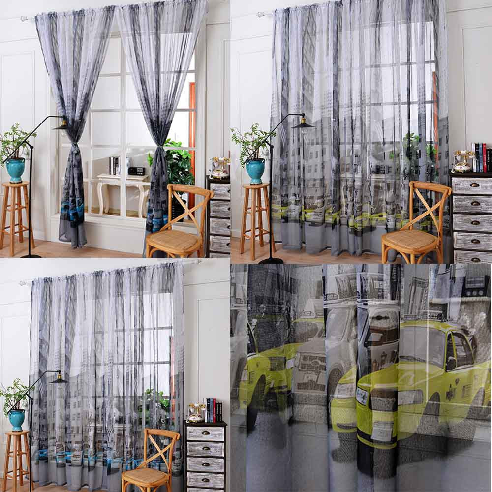 100x270cm Car Print Tulle Door Window Curtain Drape Panel Sheer Scarf  Valances curtains for bedroom