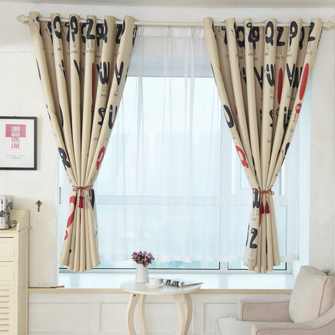 100x200cm Letter Print Shading Curtain Door Window Curtain Drape Panel Valances rideaux pour le salon