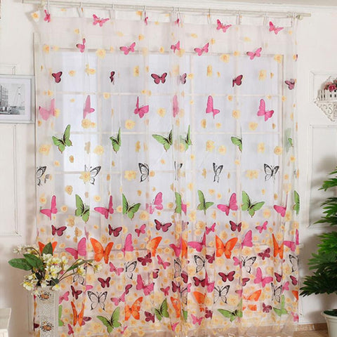 2017 Butterfly Print Sheer curtains window curtain living room glass beads curtains cortinas para dormitorio