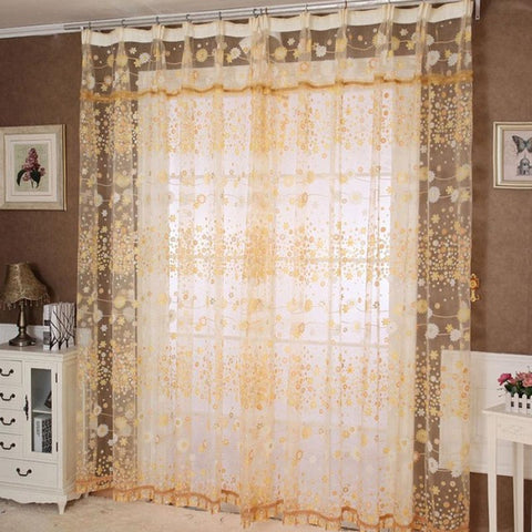 Brand new 2015 Window Curtains Floral Tulle Door Window Curtain Drape Panel Sheer Scarf Valances modern curtains for living room