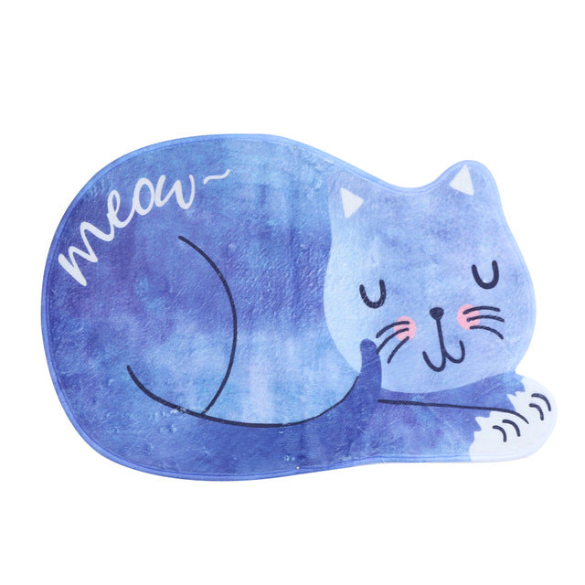 Sleeping Cat Bathroom Mat Set Soft Wool Tea Table Bibulous Antiskid Doormat Bathroom Carpet Mat Home Decor Bathroom Rug