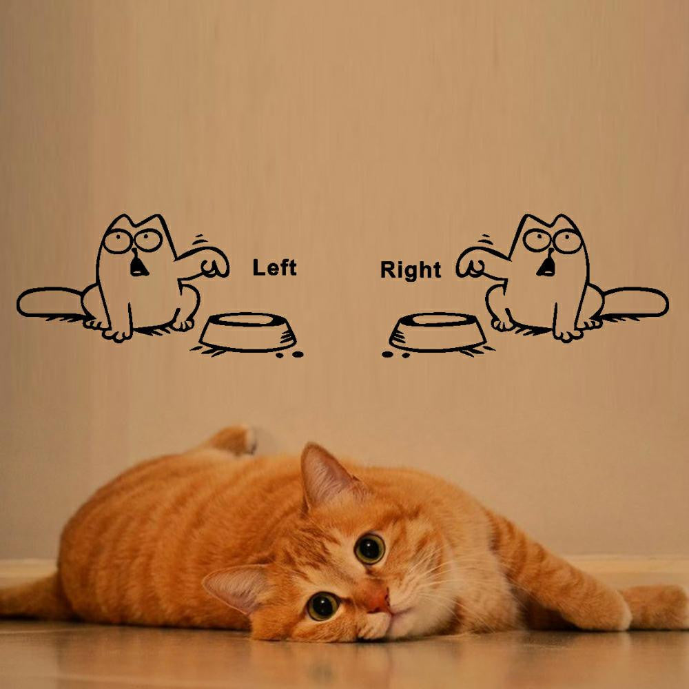 Left Right Newest DIY Funny Cat Need Food Home Decoration Wall Sticker Lovely Kitchen Pet Store Car Stickers For Kids Bedroom