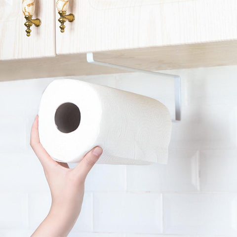 Iron Kitchen Tissue Holder Hanging Bathroom Toilet Roll Paper Holder Towel Rack Kitchen Cabinet Door Hook Holder Organizer