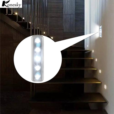 Mini 5 LED Night Light Closet Lamp Wireless Wall Light Battery Home Lighting for Under Kitchen Cabinets