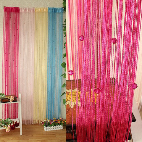 1X2M Garland Curtain Crystal Beads Curtains Silk Tassel Door Divider Sheer Valance Panel Windows Curtains Home Decoration
