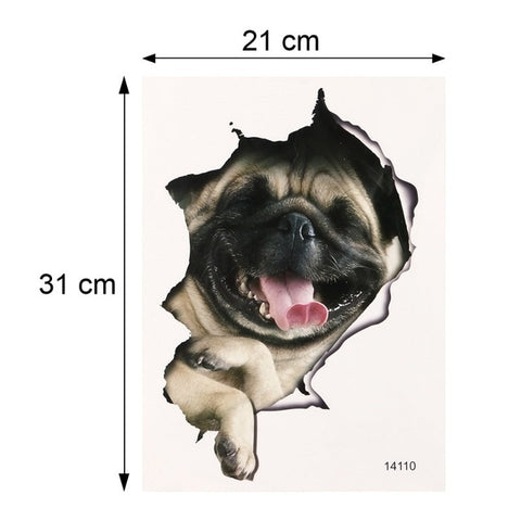 Cats Dog 3D Wall Sticker Waterproof Bathroom Toilet Stickers DIY Art Decal for Refrigerator Toilet Home Bathroom Decoration