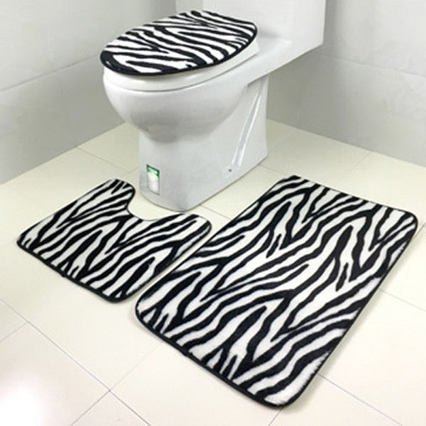 3Pcs/set Bathroom Mat Set Flannel Anti Slip Toliet Bath Rug Door Mat Carpet Ocean World Home Decor Bathroom Products