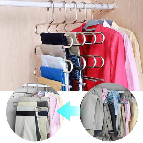 Stainless Steel Trousers Hanger Multifunction Magic Clothes Closet Belt Holder Rack S-type 5 Layers Saving Space Organizer