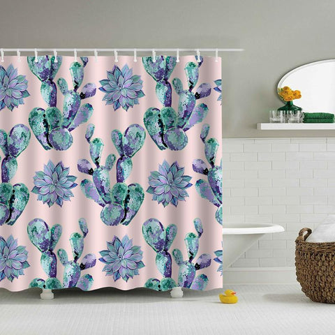 180x180cm Waterproof Shower Curtain Plants Leaves Printing Bath Screen Bathroom Curtain Home Decoration
