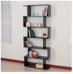 6 Tier Ultra Modern Display Unit Black Gloss Cabinet Bookcase Gloss Cabinet Book Shelves