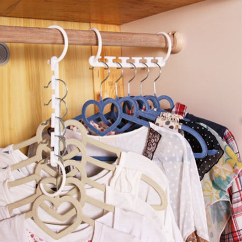 8Pcs/lot Clothes Hanger Rack Wardrobes Shop Closet Wardrobe Clothing Hooks Space Saver Home Organizer Set