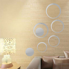 Circles 3D Wall Mirror Stickers Vinyl Wall Sticker DIY Living Bedroom Sofa TV Background Wall Art Mural Home Decoration