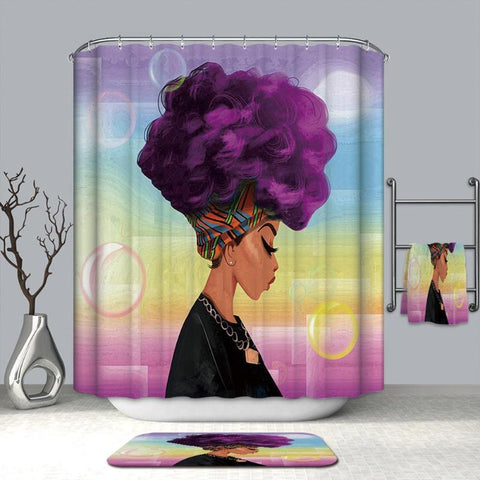 180x180cm African Woman Shower Curtains Waterproof Polyester Fabric Bathroom Curtains Screen for Bath Home Decoration