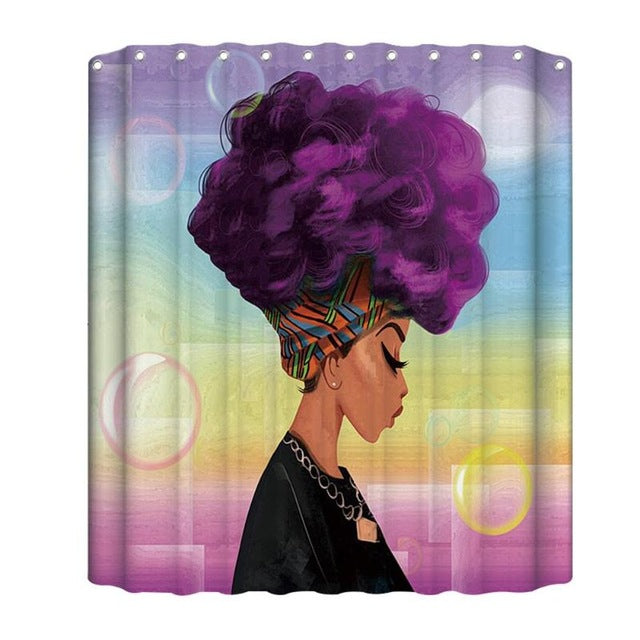 180x180cm African Woman Shower Curtains Waterproof Polyester Fabric Bathroom Screen For Bath Home Decoration