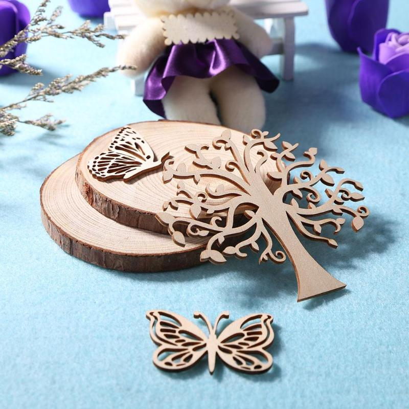 Hollowed Wood Carving Ornaments Natural Fresh DIY Wall Decoration for Party Wedding Decoration Wood Craft