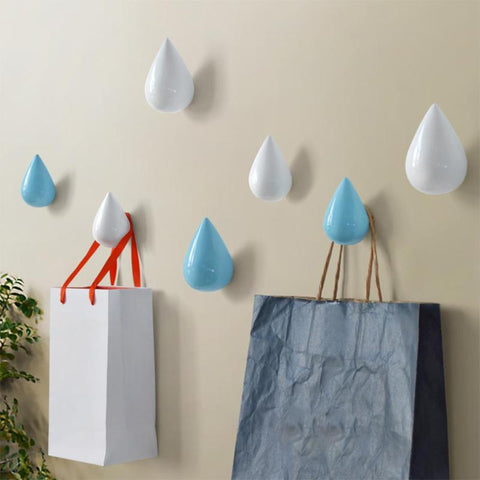 Home Decor Wall Hanger Hooks Water Drop Shape Living Room Bathroom Door Coat Hook Rack Holder Key Hooks