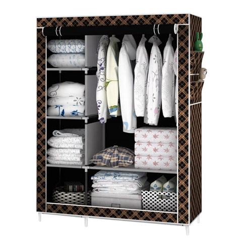 Portable Fabric Wardrobe Closet Dustproof Storage Organizer with Metal Shelves