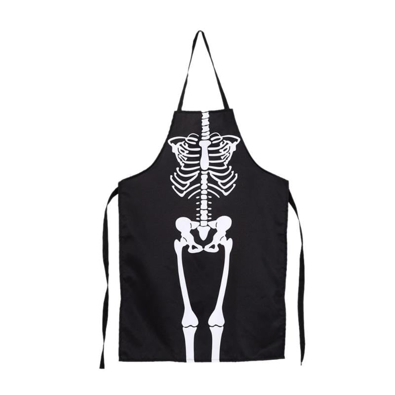 Women Men Halloween Kitchen Aprons Skeleton Printed Waterproof Cooking Bib Party Costume Clothes Popular Apron High Quality