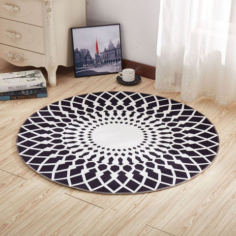 2018 New 1M Non-slip 3D Printing Carpet Round Rug Fashion Vibrant  Indoor Study Room Living Room Full Floor Mat Lounge Pad