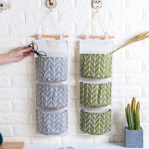 Cotton Linen Hanging Storage Bag 3 Pockets Wall Mounted Wardrobe Hanging Bag Wall Pouch Cosmetic Toys Organizer 3 Colors