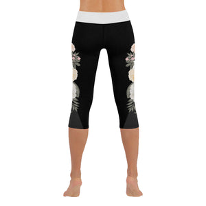 Rosé All Night Black Floral Low Rise Capri Leggings